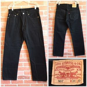 Levis Strauss 501 Black Buttonfly Jeans 34 x 32